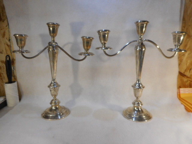 Antique Alvin Sterling Silver Candelabra Set Original Patina