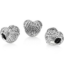 Angel Feather Heart Charm, Sterling Silver S925, Fits Pandora Charm Brac... - $14.99