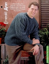 "Emerald Aran Sweater SZ 42"" to 50"" Knitting PATTERN/INSTRUCTIONS/NEW Lea... - $1.41"