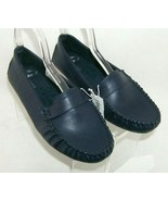 Old Navy Solid Driving blue faux leather new penny loafer moccasin flats 8 - $18.49