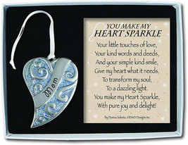 Mom Heart Sparkle Ornament Christmas Family Keepsake New in Gift Box - $14.84