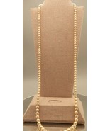Vintage Marvella Faux Pearl Beige/Cream pretty1 Long Necklace with barre... - $9.80