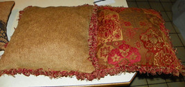 Pair of Burgundy Gold Fringed Decorative Print Throw Pillows  19 x 19 - $59.95