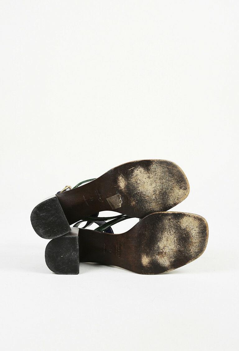Miu Miu Brown Green Patent Leather Slingback Sandals SZ 40