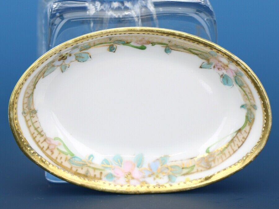 Vintage Open Salt Dip Cellar Noritake Japan Hand Painted Oval