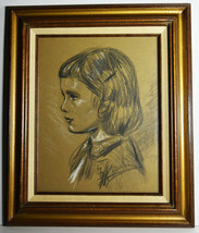 "13"" Vintage Drawing Paper Young Boy Girl Portrait Long Hair Cute Face Wa... - $47.49"