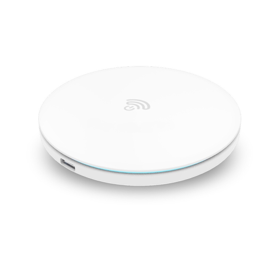 hamtod 10w max white round intelligent qi wireless charger support fast charging
