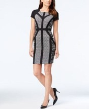 Sandra Darren Dress Sz 4 Black White Multi Color Sheath Business Dinner ... - $63.82