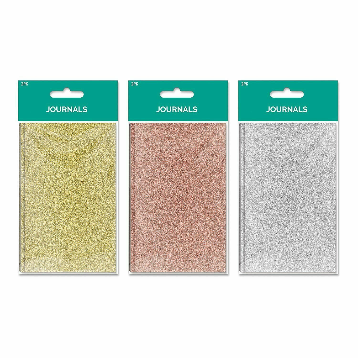 B-THERE Bundle of Solid Glitter Pocket Journal Set - 6 Notebooks Total! 3...