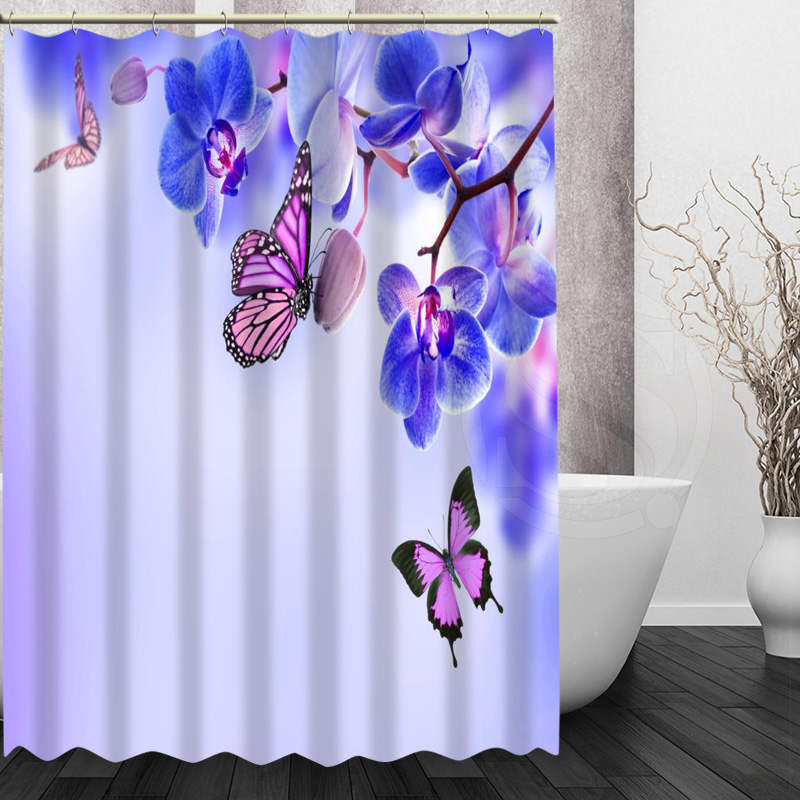 Best Nice Custom Orchids Flower Shower Curtain Bath Curtain Waterproof Fabric Fo