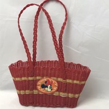 Disney Store Minnie Mouse Red Yellow Plastic Woven Basket Purse - $11.87