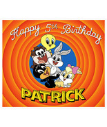 Baby Looney Tunes Birthday Banner Personalized Party Backdrop Decoration - $38.12