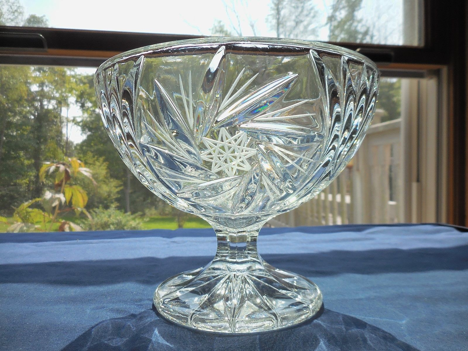 Primary image for Vintage Cut Crystal Footed Open Candy Dish Whirling Pinwheels 8 point Stars