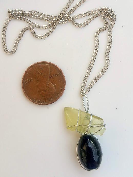 Sunshine Memories necklace: Rare yellow sea glass, silver color wire & blue bead