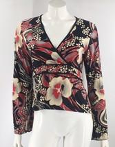 VTG 90s Aphrodite Top Size Large Red Black Tan Floral Bell Sleeve Shirt ... - $15.84