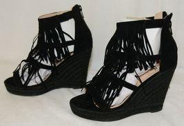 BF Betani Shiloh 8 Black Fringe Wedge Heel Sandals Size 6 image 3