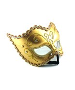 MASQUERADE BALL FETISH MASK CARNIVAL MARDI GRAS PROM ROLEPLAY GOLD - $38.99