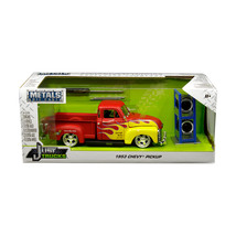 1953 Chevrolet Pickup Truck Red with Yellow Flames and Extra Wheels Just... - $37.40