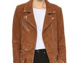 Womens brown suede leather jacket slim fit biker motorcycle size s m l xl xxl thumb155 crop