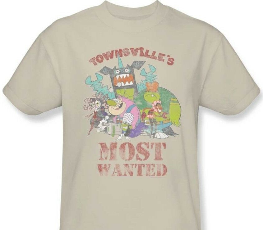 Townsville's Most Wanted T-shirt powerpuff cartoon graphic 100% cotton tan tee