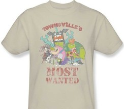 Townsvilles Most Wanted T-shirt powerpuff cartoon graphic 100% cotton tan tee image 1