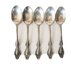 Vtg set of 6 Wm. H. Rogers A1 Silver Demitasse teaspoon Scroll Monogram - $89.00