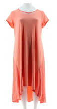 H Halston Knit Maxi Dress Hi-Low Hem Lace Soft Coral L NEW A291517 - $30.67