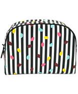 Lulu Guinness Striped Confetti Lip Washbag Make Up Bag Case Travel Pouch - $87.71