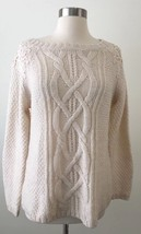 Womens Talbots Cable Knit Ivory Sweater Crochet Applique Shoulders Size Small - $27.10