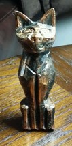 Abstract Eqyptian Cat Mau god Figurine Wood Carving Copper & Black - $6.46