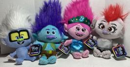 Troll Dreamworks Plush 4 Pieces Poppy, Branch, Barb & Tiny Diamond New W10 - $40.38