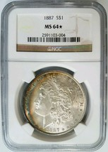 1887 Morgan Silver Dollar NGC MS 64 Star Toning End Roll Album Toned Cre... - $199.99