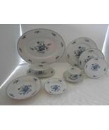 30 p SANGO Meissen Blue ROSE DINNERWARE LOT gravy DINNER PLATE SOUP BOWL... - $174.23