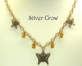 Copper Chain Butterfly Amber Crystal Necklace - $20.99