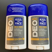 Lot of 2 Kiss My Face Natural Man Deodorant Energizing Sport Scent 2.48 oz - $21.77
