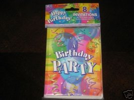 Happy Birthday Party Invitations Package of 8 NEW - $1.99