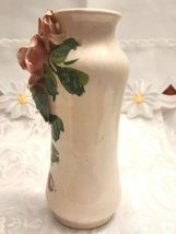 Antique Hand Made & Painted Sculpted Rose on a Ceramic Vase, Made In Italy image 3