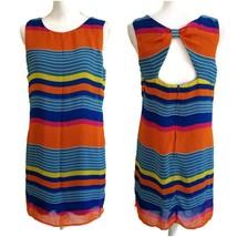 Bisou Bisou 6 Dress Sleeveless Striped Shift Keyhole Back Lined Lightwei... - $14.99