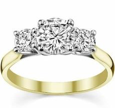 Round 3 Stone Trellis Charles & Colvard Moissanite Ring 14K Two Tone Gold - €456,02 EUR+