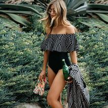 Sexy One Piece Off Shoulder Black And White Vintage Retro Fashion Swimsuit image 4