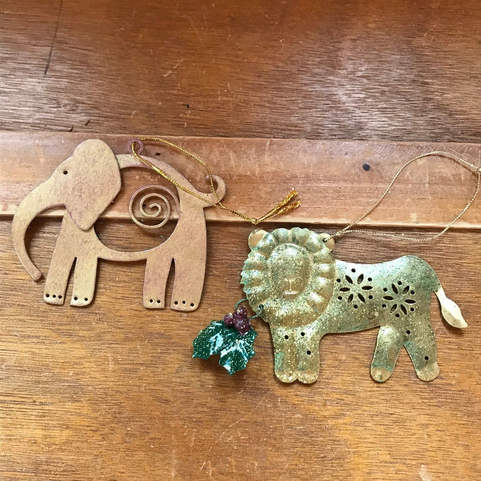 Lot of 2 Sparkly Green Lion with Holly & Brushed Goldtone Elephant Metal Christm