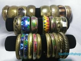 Huge Lot Vintage Brass Bangle Bracelets Hammered Elephants Boho Stacking... - $34.65