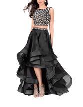 Women's Two Piece Hi-Lo Organza Prom Evening Dress Long Beaded Formal Ba... - $149.99