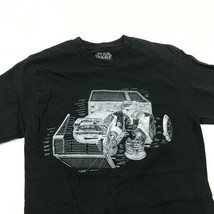 Star Wars Racer Schematic Shirt Black Movie Tee Adult Size Small S Georg... - $11.23
