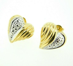 14k Yellow and White Gold Heart Stud Earrings (#J4441) - $55.00