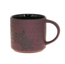 Starbucks Purple Plum Embossed Floral Rose Ceramic Stackable Mug Cup 14 oz - $33.25