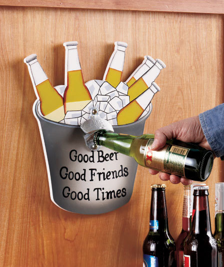 beer sign with bottle opener bucket for the man cave openers. Black Bedroom Furniture Sets. Home Design Ideas