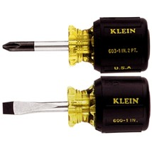 Klein Tools 2-Piece Stubby Cushion-Grip Screwdriver Set - $28.70