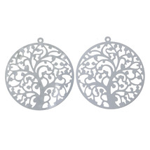 2 pieces Pendants Dangle Charms Stainless steel TREE jewelry findings DI... - $2.99