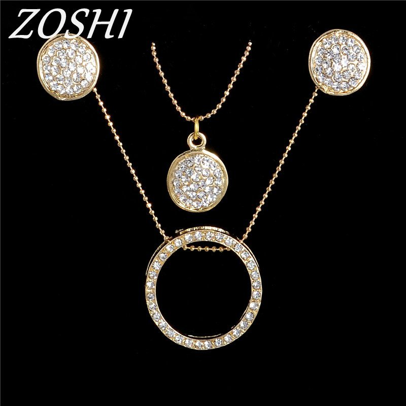 Primary image for Fashion Clear Austria Crystal Jewelry Sets For Women Drop Earrings and Gold